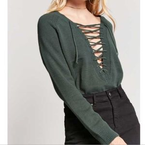 NWT forever 21 lace up sweater knit green sexy